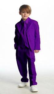 Breasted Boys Suit Purple