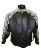 GD1016 G-Gator Mens Genuine Python Snake Skin Jacket Black