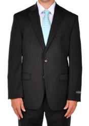 PN80 Ralph Lauren Liquid Jet Black Pinstripe Dress Suit