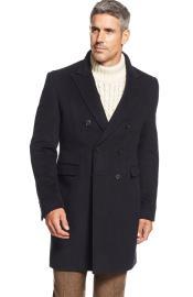 SM4769 Designer Brand Mens Lawrenceville Topcoat Double-Breasted Wool Blend