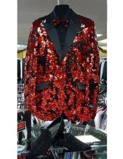 GD1475 Mens red and black lapel sequin tuxedo shiny