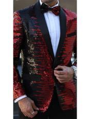 E-140 Mens Striped Designed Black Shawl Lapel Red~Black tuxedo