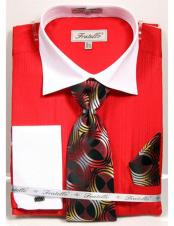 CH2277 Mens White Collared French Cuffed Red Dress Shirt