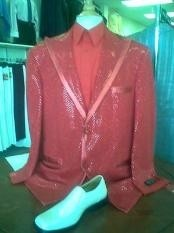 ED6738 red color shade Shiny Flashy Metallic Tuxedo Suit