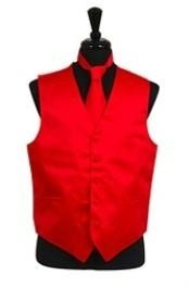 VS1016 Vest Tie Set red color shade