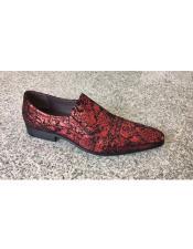 JSM-5258 Mens Man Made Red Foil Floral Pattern Slip