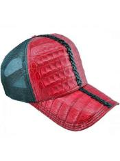 JSM-717 Genuine Ostrich Alligator Exotic Skin Red/Green Baseball Cap