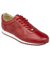 GD1762 Mens Red Lace Up Genuine Ostrich Casual Leather
