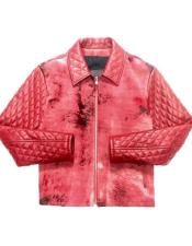 AP679 Red Quilted Pony Hair Zipper Closure Bomber Jacket