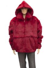 GD885 Mens Fur Red Genuine Full Skin Rabbit Detachable