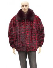 GD886 Mens Fur Red Sheared Genuine Mink Jacket With