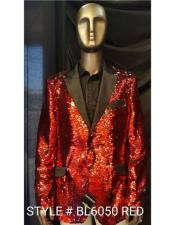 BL6050 Mens Fashion Red Shiny Sequin Paisley Blazer Sport