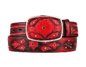 SM314 Fashion Western Belt red color shade Original Lizard