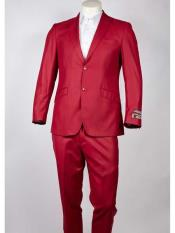 Single Breasted Peak Lapel red