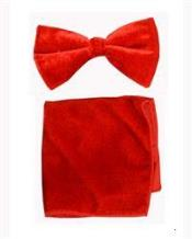 AP18K Velvet Bowtie with Hanky red color shade