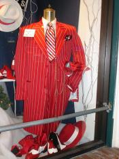 JSM-5010 Mens Red And White Stripe ~ Pinstripe Vested