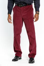 JSM-3612 Mens Stylish Red Wine Flat Front Corduroy Formal