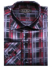 PN-U68 Fancy Shirts Red/Black(100% Polyester) Flashy Shiny Satin Silky