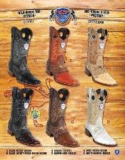 PN76 Rodeo Toe Genuine OSTRICH Cowboy Western Boots Multi-color