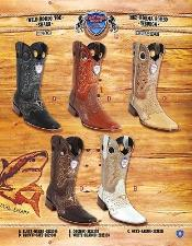 PN_E51 Rodeo Toe Genuine Shark Cowboy Western Boots Multi-color