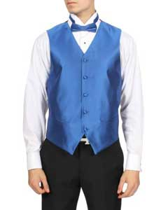 PN_4V royal blue pastel color Solid 4-Piece Vest Set