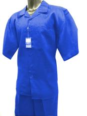 JSM-4503 Mens Short Sleeve 2 Piece Solid Mens 2