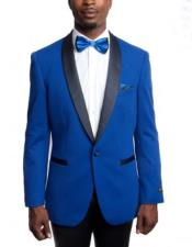 Mens Royal Blue Knitted Slim