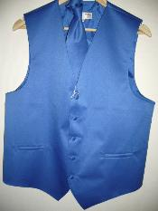 KA1303 royal blue pastel color VEST & TIE SET