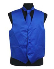 VS1022 Vest Tie Set royal blue pastel color