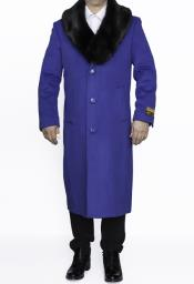 SM4836 Mens Removable Fur Collar Full Length Wool Dress