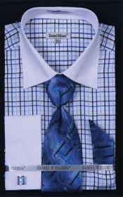 YP456 French Cuff Dress Shirt Set Small Checker Royal