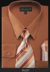 RS9879 Dress Shirt - PREMIUM TIE - Rust