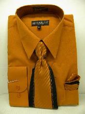 Rust Dress Shirt Tie Set