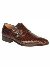 MO522 Mezlan Brand Rust Genuine Alligator Double Monk Strap