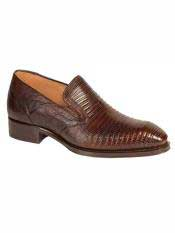 MO553 Mezlan Brand Rust Genuine Lizard Loafer Shoes
