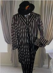 Jet Black Stripe ~ Pinstripe Fashion Longer Jacket Suits