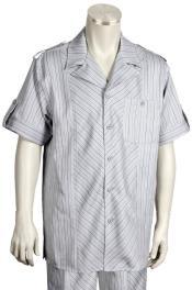 JA113 Mens Safari Patterned Short Sleeve Button Fastener Gray