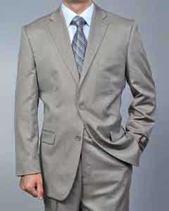Sand Twill-pattern 2-button Khaki Suit