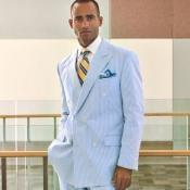 Seersucker Fabric Double-Breasted Suit