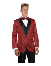 JSM-6272 Mens Red Modern Fit Floral Sateen Unique Paisley