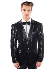 AP793 Mens Barabas Black 2 Buttons Sequined Reptilian Print