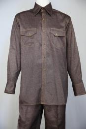 JA124 Mens Sharkskin Stitch Accent Point Collar Walking Suit