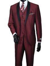 JSM-655 Mens 3 Piece Burgundy Two Toned Shawl Lapel