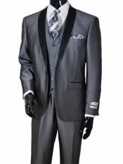 JSM-656 Mens Metal Gray 3 Piece Two Toned Shawl