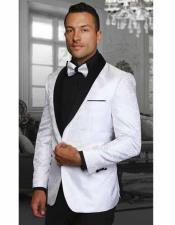 JSM-1072 Mens Two Toned White Paisley Shawl Lapel Entertainer