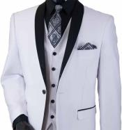 JSM-657 Mens White 3 Piece Two Toned Shawl Lapel