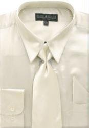 FA761 Beige Shiny Silky Satin Dress Shirt/Tie