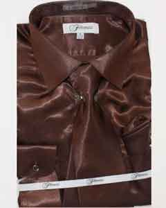 Shiny Luxurious Shirt Dark brown color shade