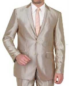 VINS2CC-1 Beige Shiny Flashy sharkskin Single Breasted Suit Side-Vented