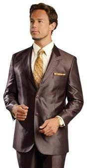 AG9990 Shiny Flashy sharkskin Single Breasted Suit Side-Vented brown